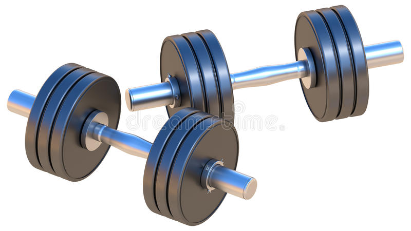 Dumbbells. Adjustable dumbbells - are used for fitness, workouts, weightlifting and endurance training. Isolated on white stock illustration