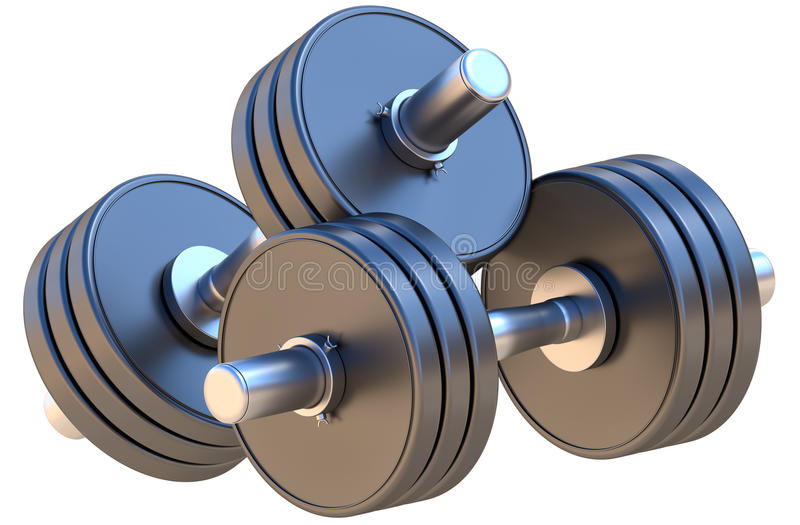 Dumbbells. Adjustable dumbbells - are used for fitness, workouts, weightlifting and endurance training. Isolated on white royalty free illustration
