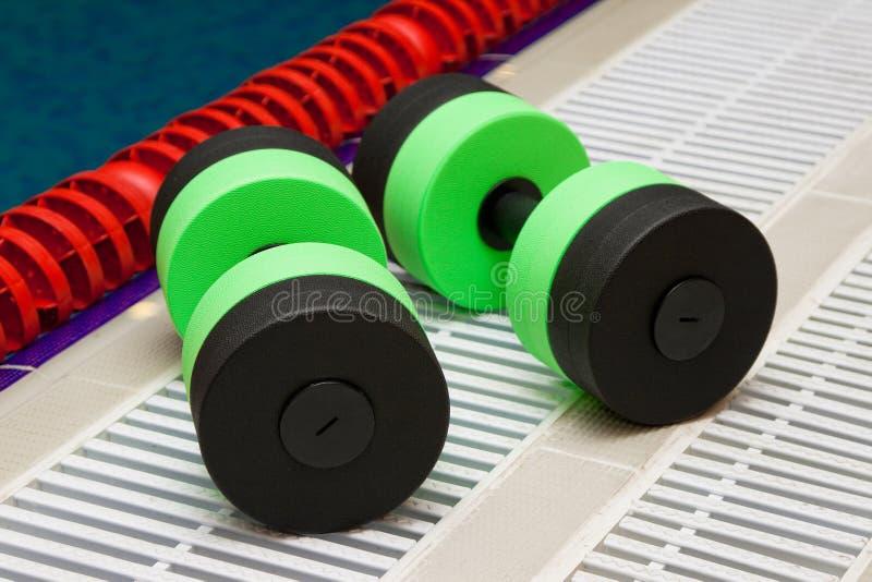 Dumbbells for Aqua Aerobics stock image