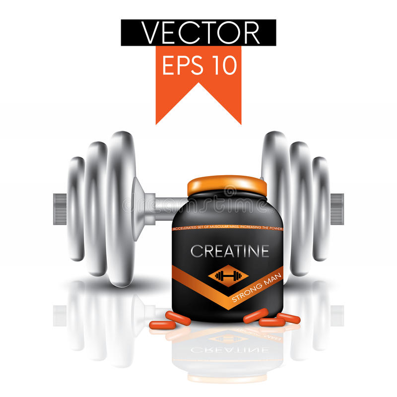 Dumbbells, capsules and a jar with creatine. Vector illustration. Sports and sports nutrition. stock illustration