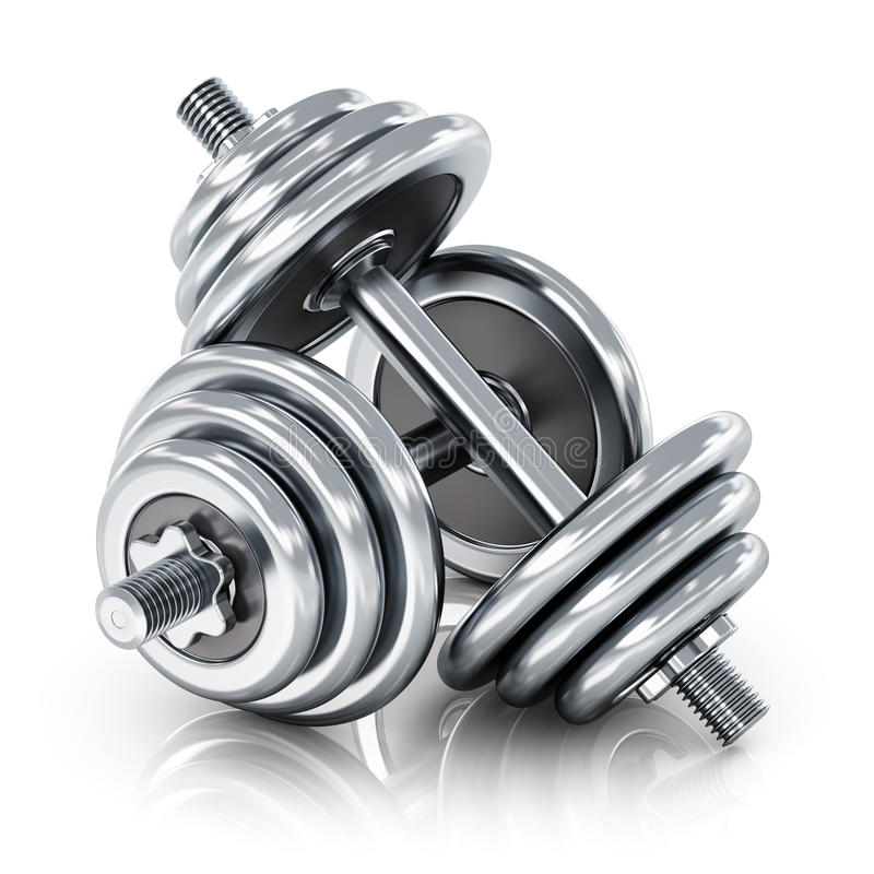 Dumbbells. Creative abstract sport, fitness and healthy lifestyle concept: group of two shiny stainless steel metal dumbbells isolated on white background with vector illustration