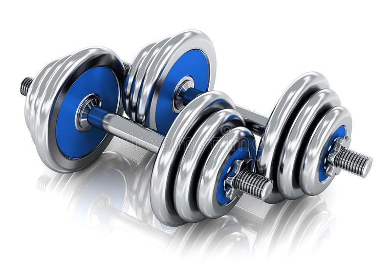 Dumbbells. Creative abstract sport, fitness training and healthy lifestyle concept: pair of blue shiny metal dumbbells isolated on white background with royalty free illustration