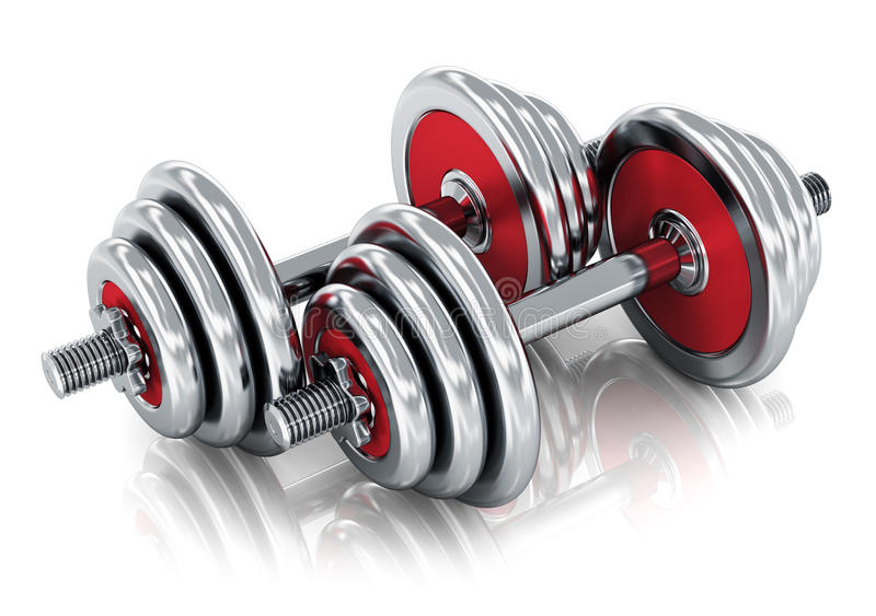 Dumbbells. Creative sport, fitness and healthy lifestyle concept: pair of red shiny metal dumbbells isolated on white background with reflection effect stock illustration