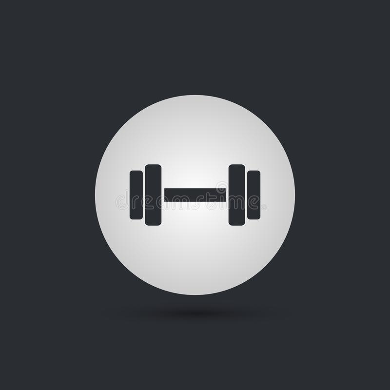 Dumbbells icon. Fitness sport symbol. Gym workout equipment. Circle buttons with flat sign. Vector. Illustration vector illustration