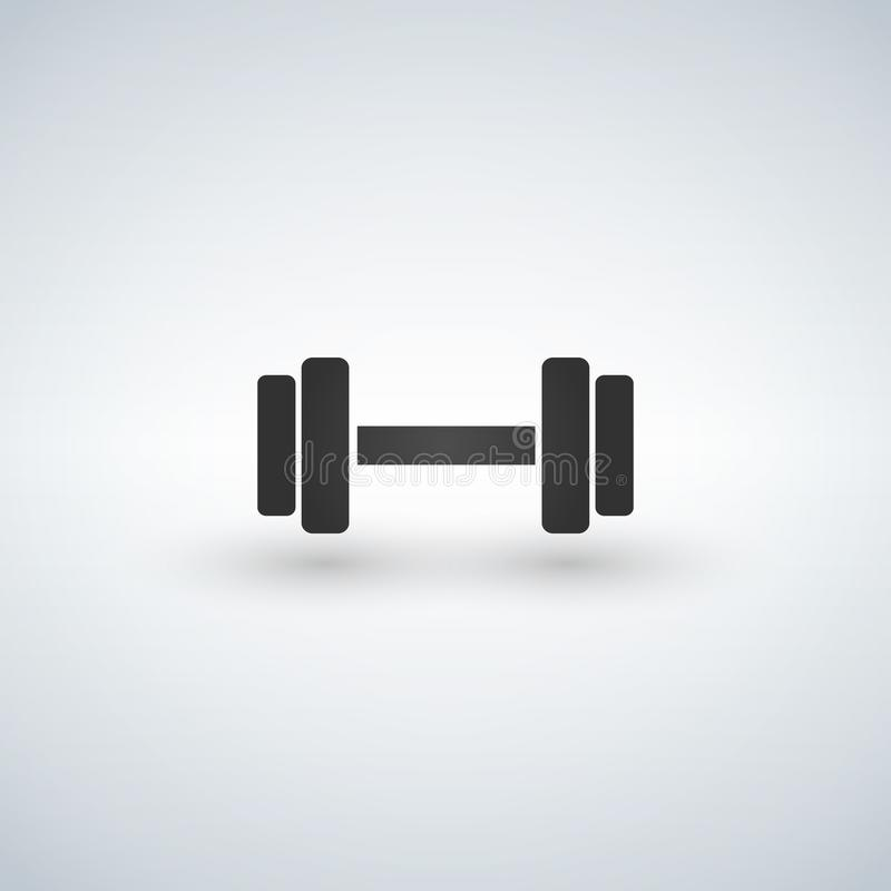 Dumbbells icon. Fitness sport symbol. Gym workout equipment. Circle buttons with flat sign. Vector. Illustration stock illustration