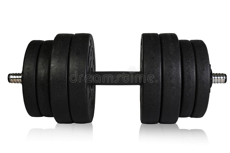 Dumbbells over white background. Sports equipment and inventory stock images