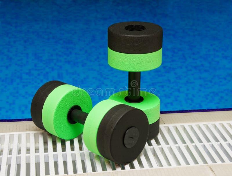 Dumbbells para o Aerobics do Aqua imagem de stock