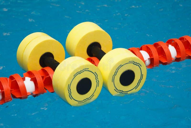 Dumbbells per aerobics di acqua immagini stock