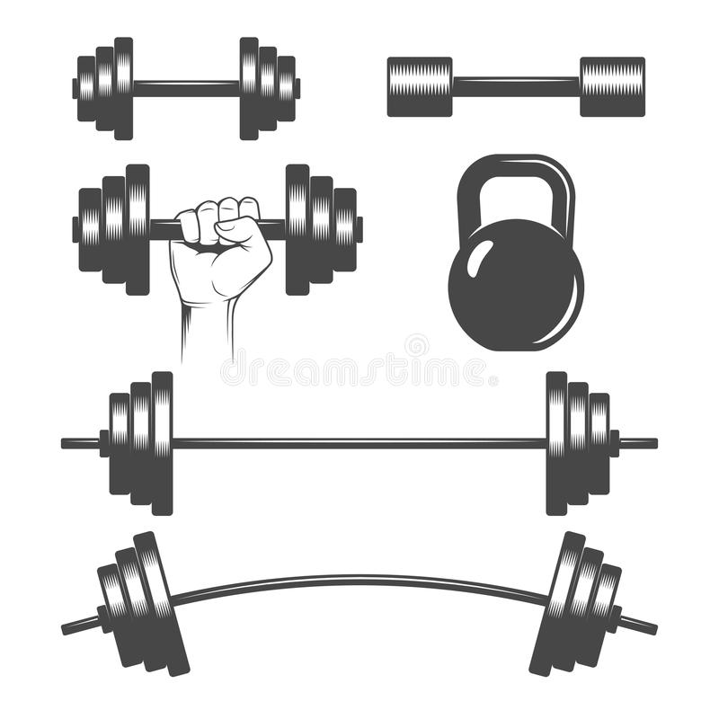 Dumbbells set. Set of dumbbells and barbells royalty free illustration