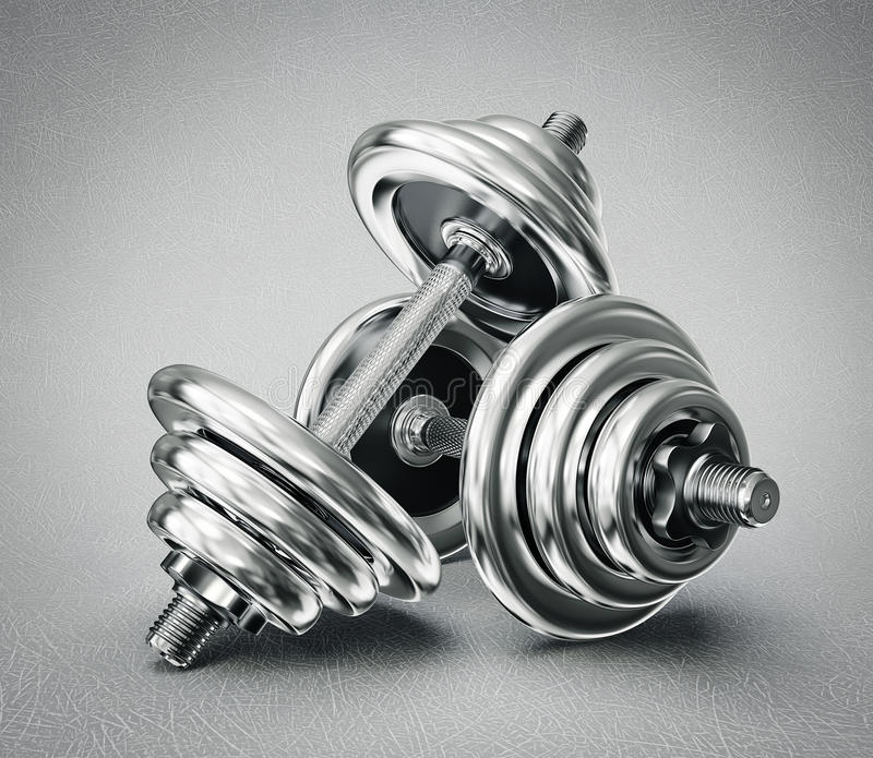 Dumbbells. Steel dumbbells on a grey background royalty free illustration