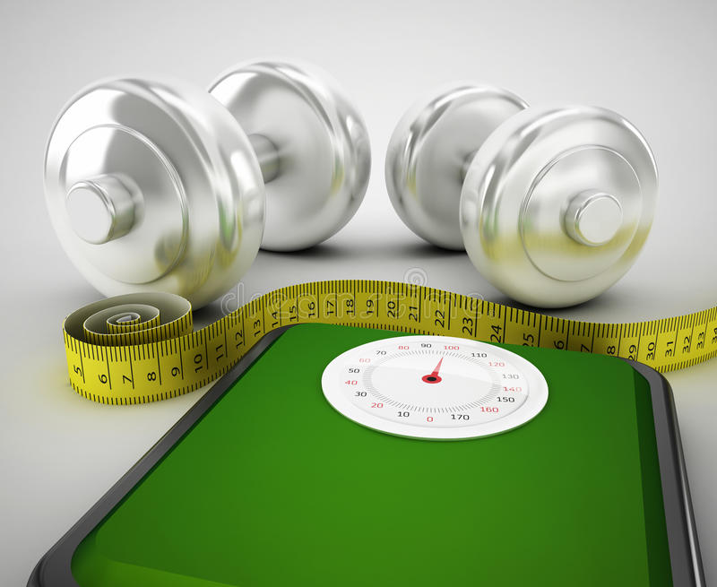 dumbbells tied with a measuring tape on a weighting scale royalty free illustration