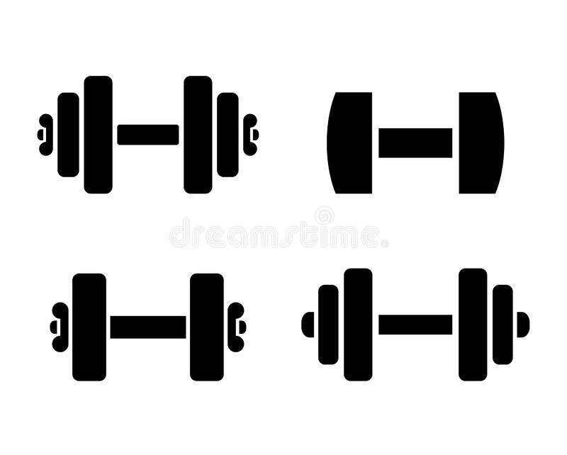 Dumbbells training vector icon. S set on white background royalty free illustration
