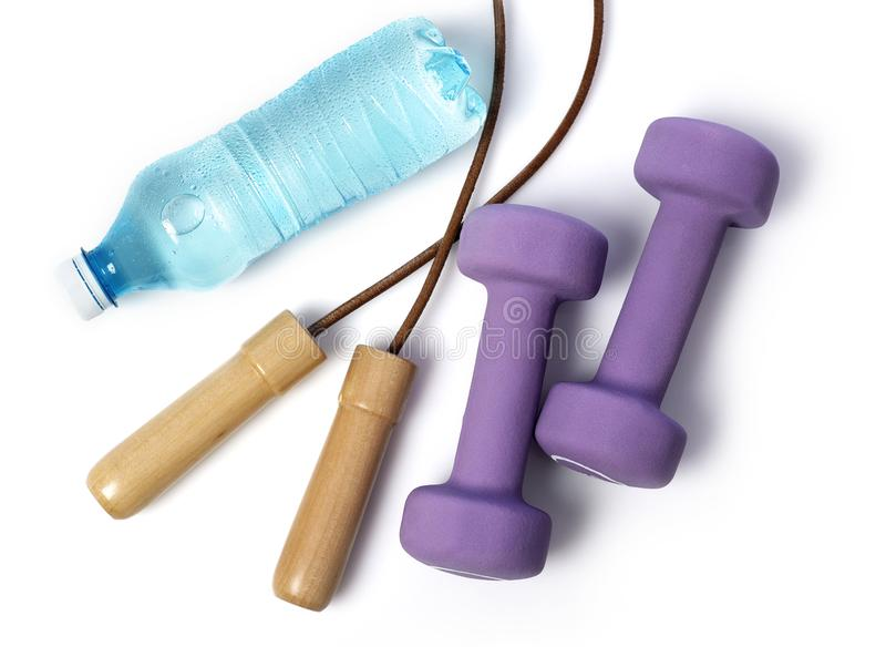 Fitness equipment on white stock photography