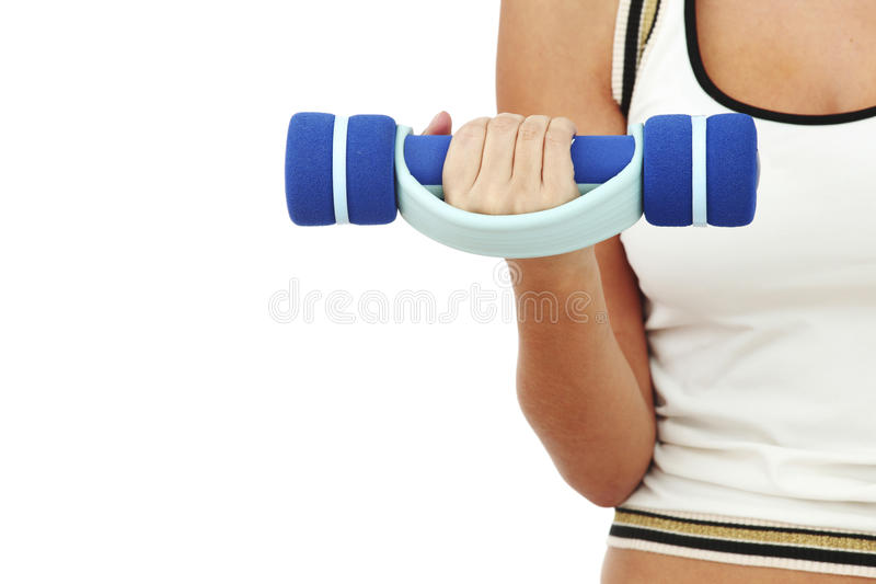 Dumbbells in woman hands. Isolated on white royalty free stock photography