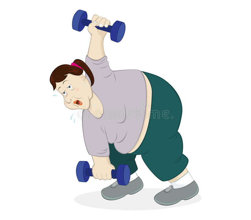 Dumbbells Workout. Illustration of an overweight woman doing workout using dumbbells royalty free illustration