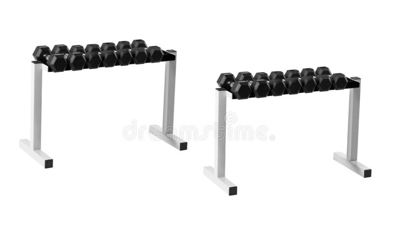Dumbells stand. Isolated on white background stock photography
