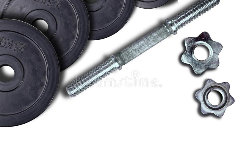 Dumbells and weights on a white background. Fastening screws and barbells stock images