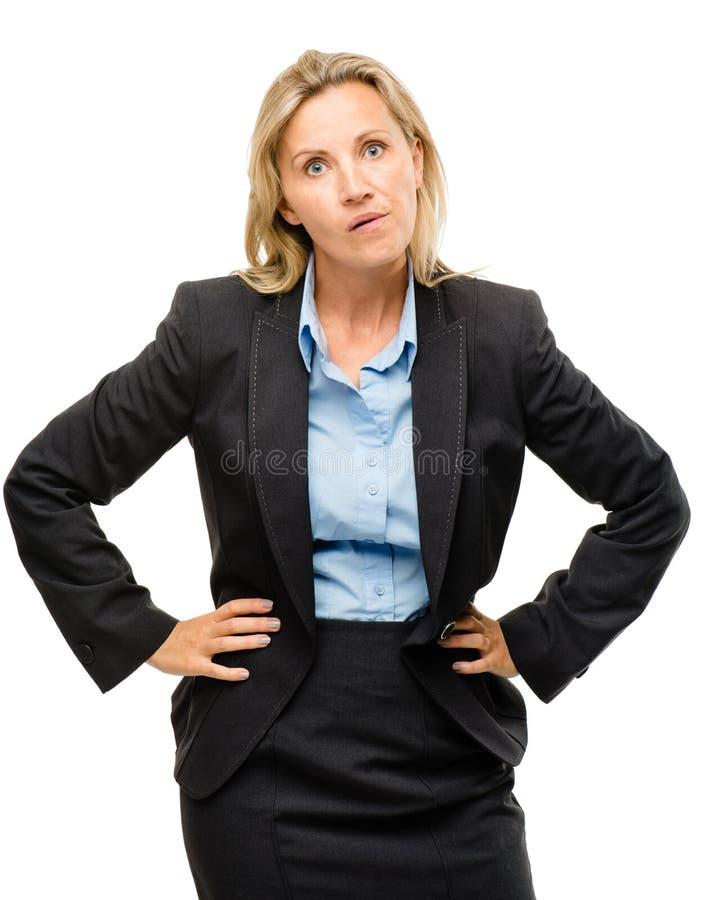Dumme reife Geschäftsfrau lokalisiert auf weißem Hintergrund stockfotografie