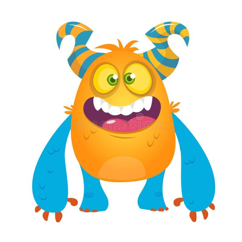 Dummes gehörntes Monster der netten Karikatur Vektorschleppangelcharakter lizenzfreie abbildung