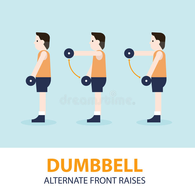 Dummkopf abwechselnder Front Raises Exercise Guide lizenzfreie abbildung