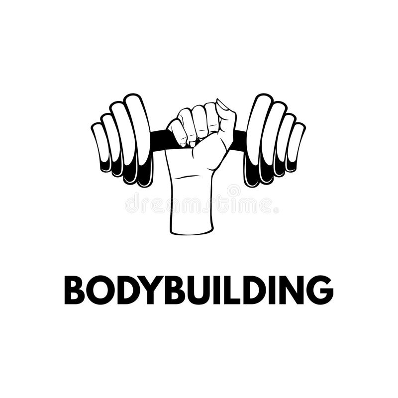 Dummkopfikone Bodybuildender Aufkleber Hand, die Gewicht hält Sportausrüstung FFitness-Ausweis Vektor lizenzfreie abbildung