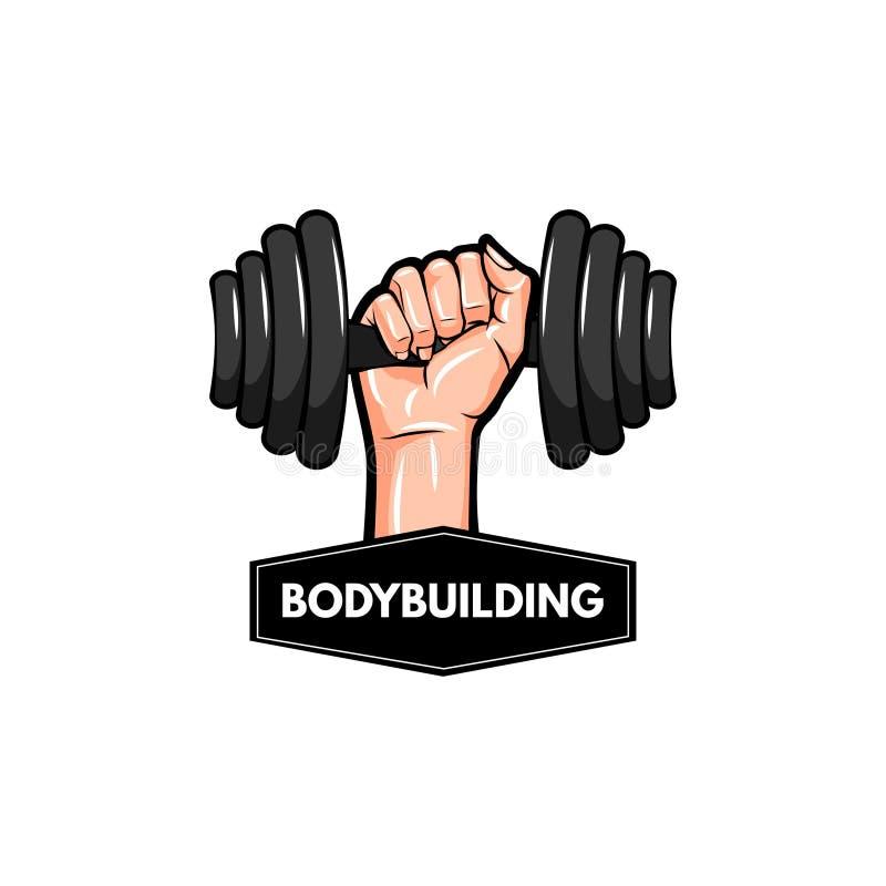Dummkopfikone Bodybuildinglogoaufkleber Hand, die Gewicht hält Barbellikone Vektor lizenzfreie abbildung