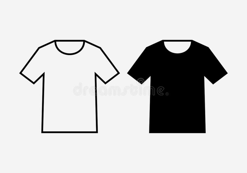 T-shirt shapes outline and silhouette royalty free stock images