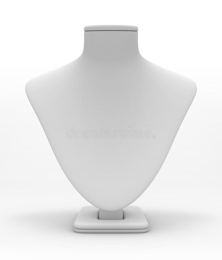 Dummy. Bust (dummy) to demonstrate jewelry on a white background stock illustration