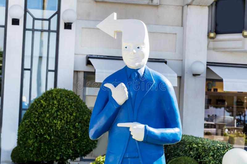 Dummy with arrow head in Cannes ,France royalty free stock images
