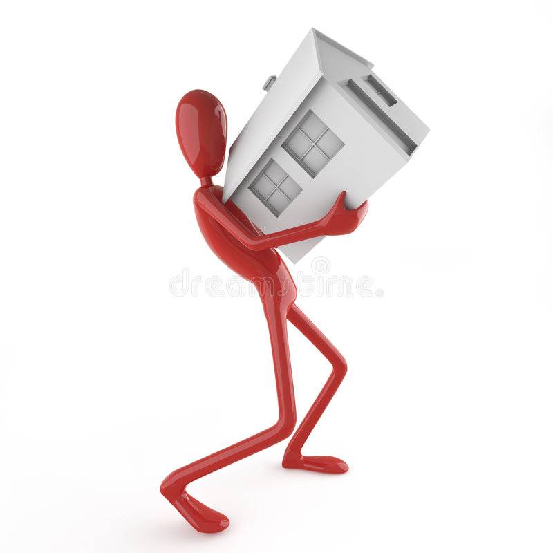 Dummy carrying house. Isolated red dummy carrying house icon as concept for mortgage. This file contains clipping path for exact isolation from the background vector illustration