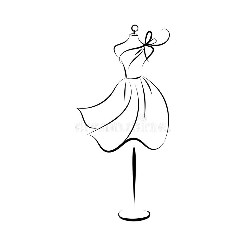 Dummy dress hand drawing contour. Dummy dress silhouette hand drawing illustration vector vector illustration
