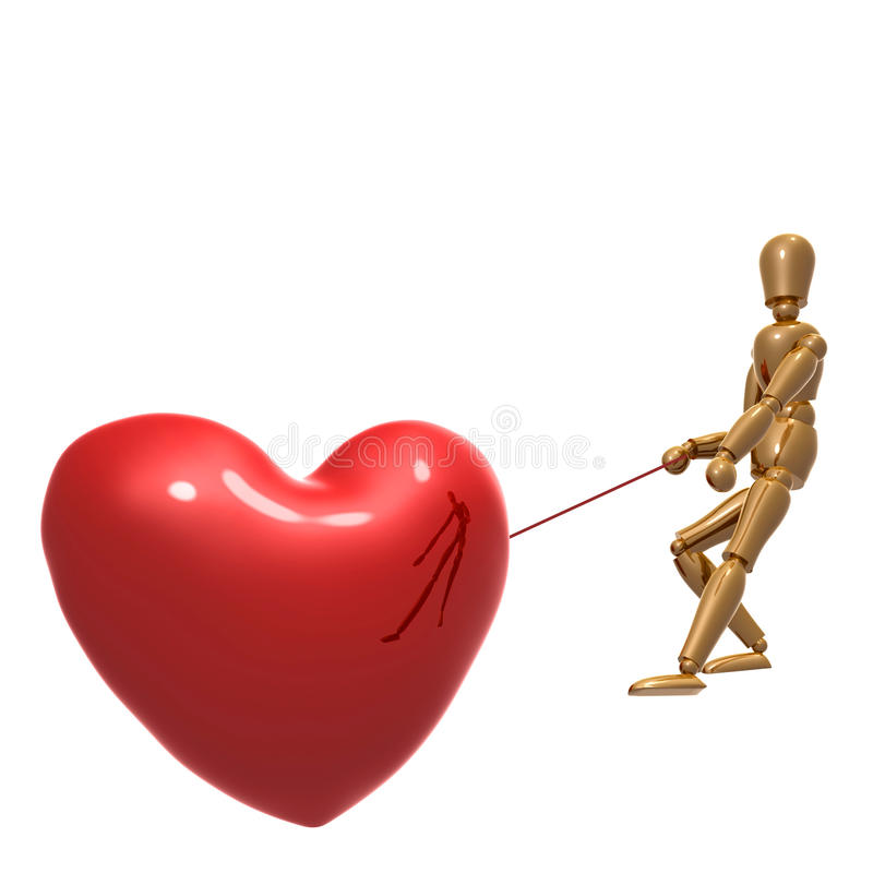 Dummy figure pulling heart for love. Illustration vector illustration