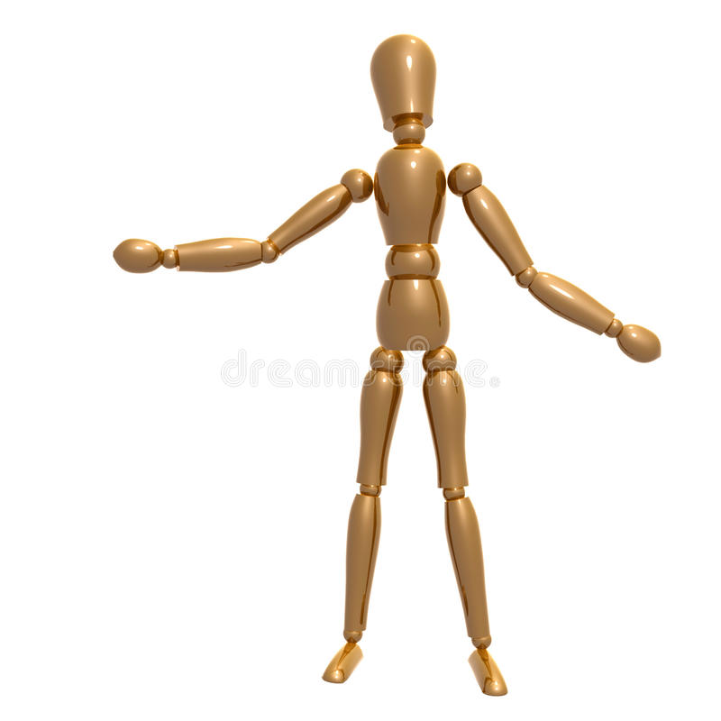 Dummy Figure On Welcome Pose Royalty Free Stock Image