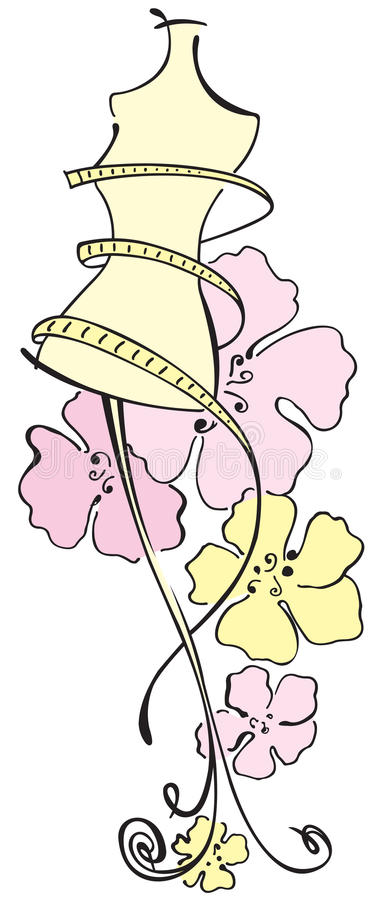 Dummy with flowers. Colored line dummy with flowers royalty free illustration