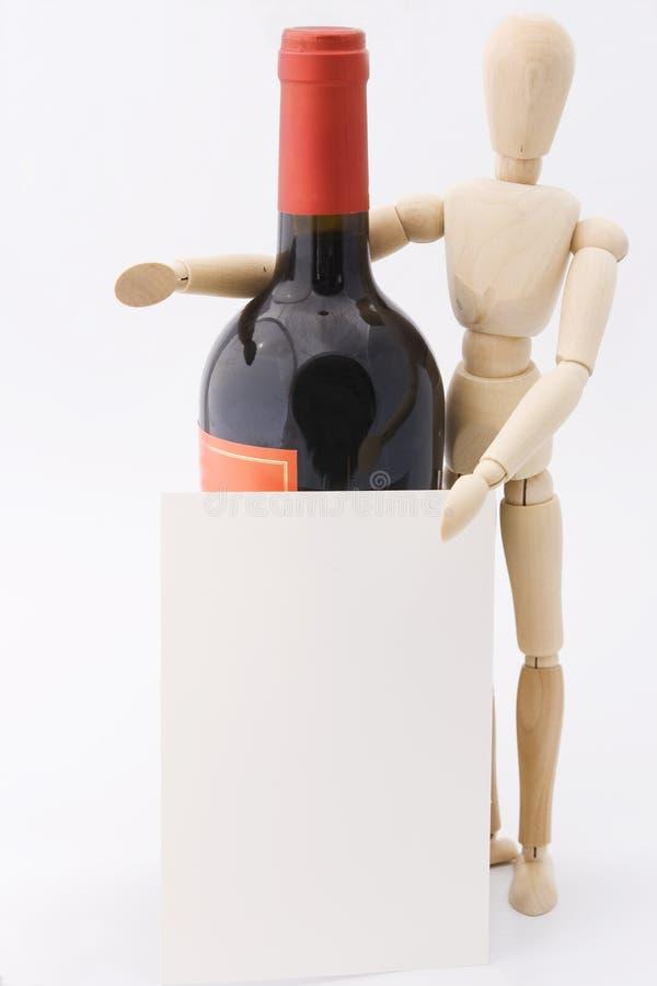 Dummy presents red wine bottle stock photo