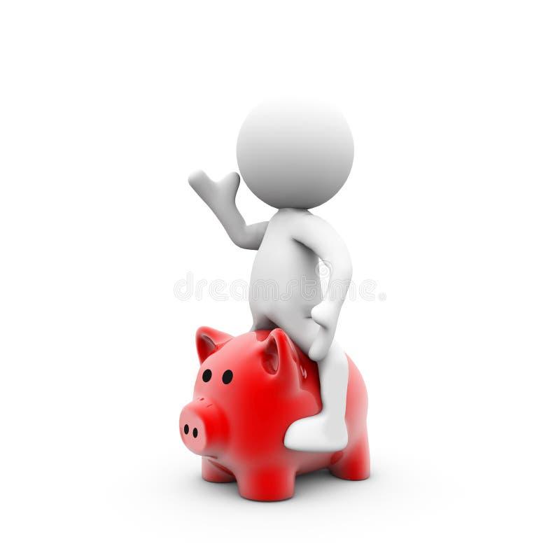 Dummy rides a piggy bank. On white stock illustration