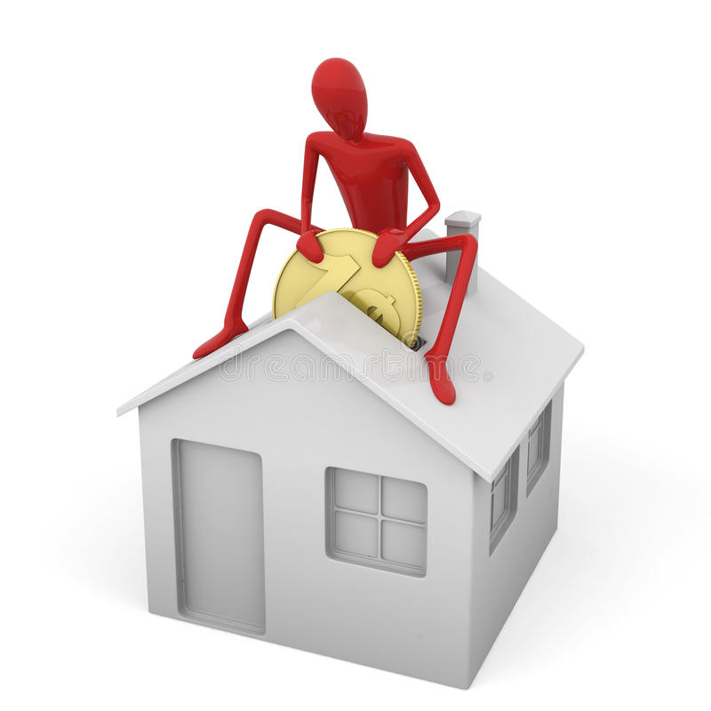 Dummy saving money for a mortgage. Red dummy on top an icon house as concept for mortgage isolated on white royalty free illustration