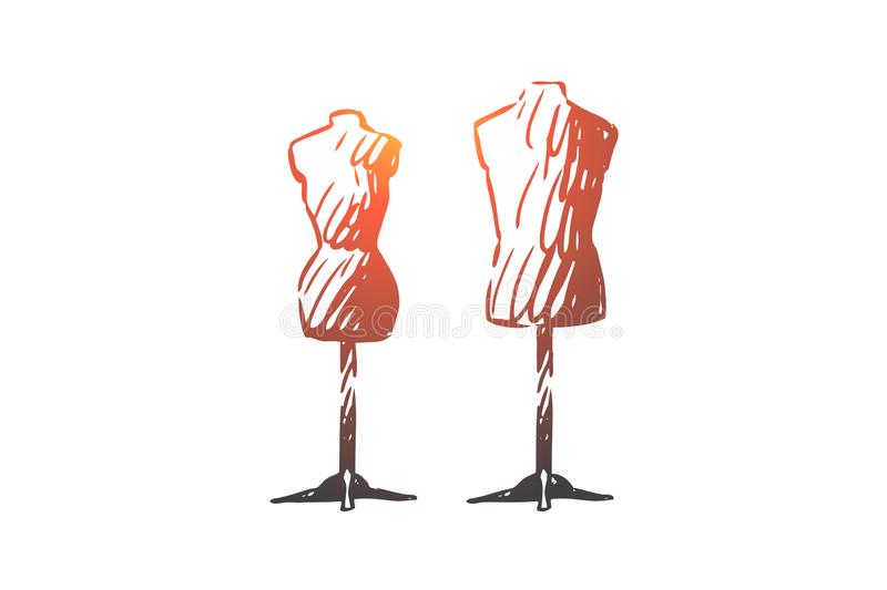Dummy, sewing, fabric, textile, clothing concept. Hand drawn isolated vector. Dummy, sewing, fabric, textile, clothing concept. Hand drawn dummy for sewing royalty free illustration