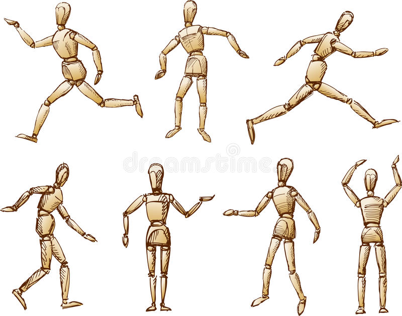 Dummy. Vector image of the human dummy in the various positions stock illustration