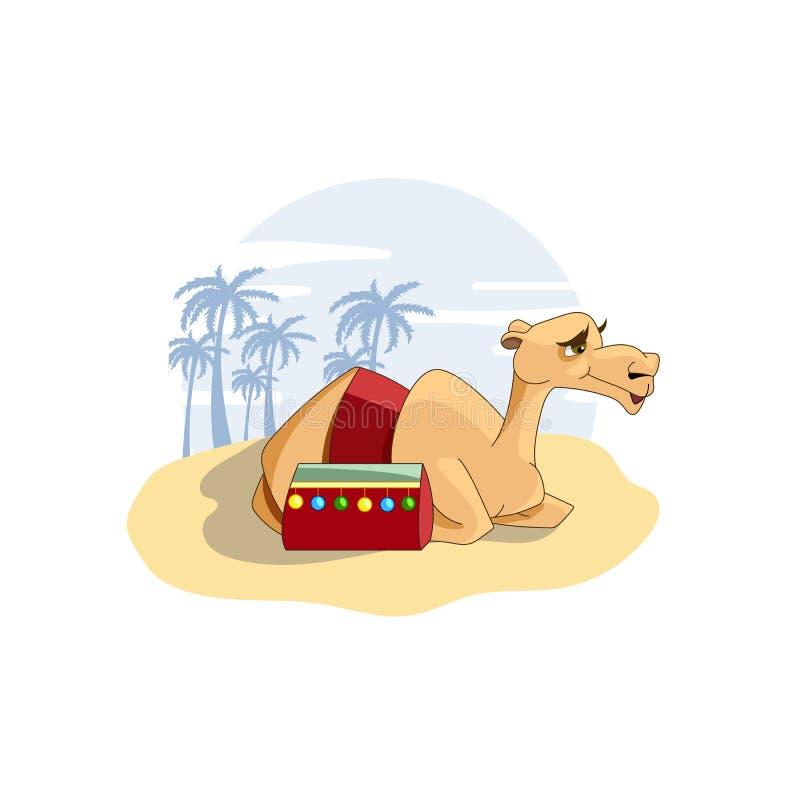 Dumna wielbłądzia karawana pustynna wektorowa ilustracja ilustracja wektor