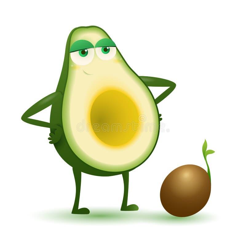 Dumny macierzysty avocado z avocado dziecka ziarnem royalty ilustracja