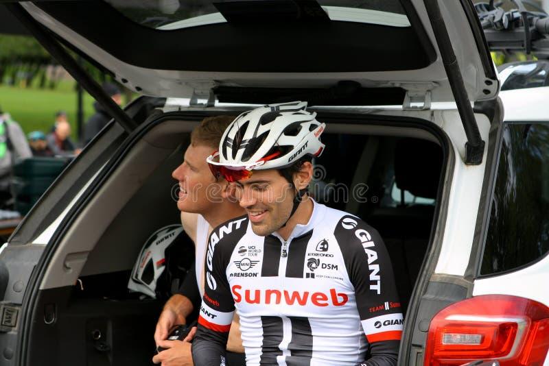 Dumoulin de Tom que descansa em Montreal Prix grande Cycliste o 9 de setembro de 2017 foto de stock royalty free
