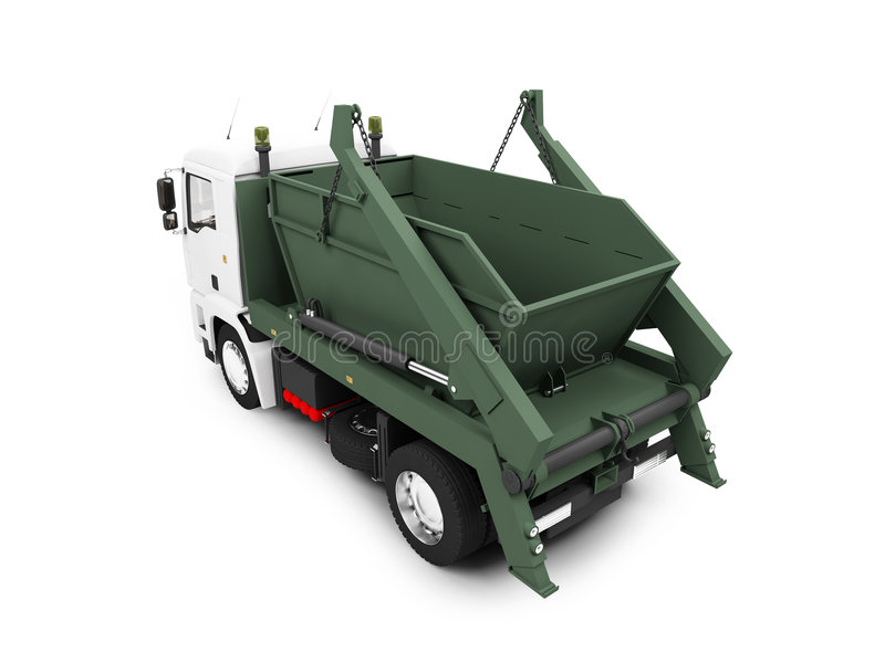 Dump car isolated back view royalty free illustration