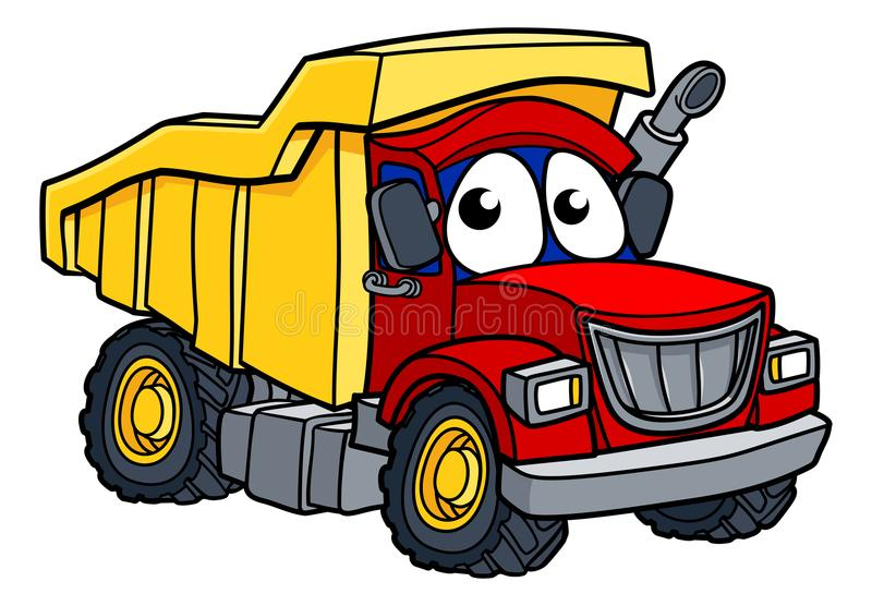 Cartoon Dump Truck Character. Dump tipper truck lorry construction vehicle cartoon character vector illustration