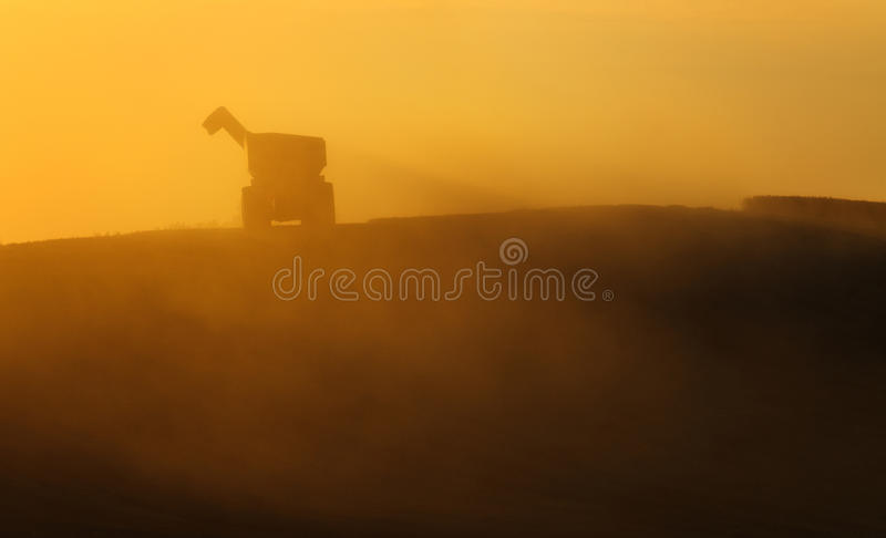 Dump trailer during harvest equipment, receiving grain. Dump trailer during harvest equipment, receiving grain,agriculture royalty free stock photos