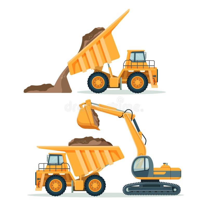 Dump truck with body full of soil and modern excavator stock illustration