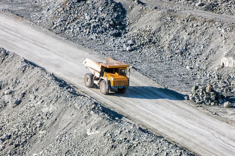 Dump truck at the quarry stock image