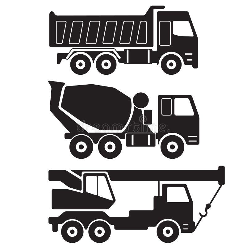dump truck Caminhão do misturador concreto Guindaste do caminhão Silhueta preta no fundo branco Ícone da construção ou grupo do s ilustração royalty free
