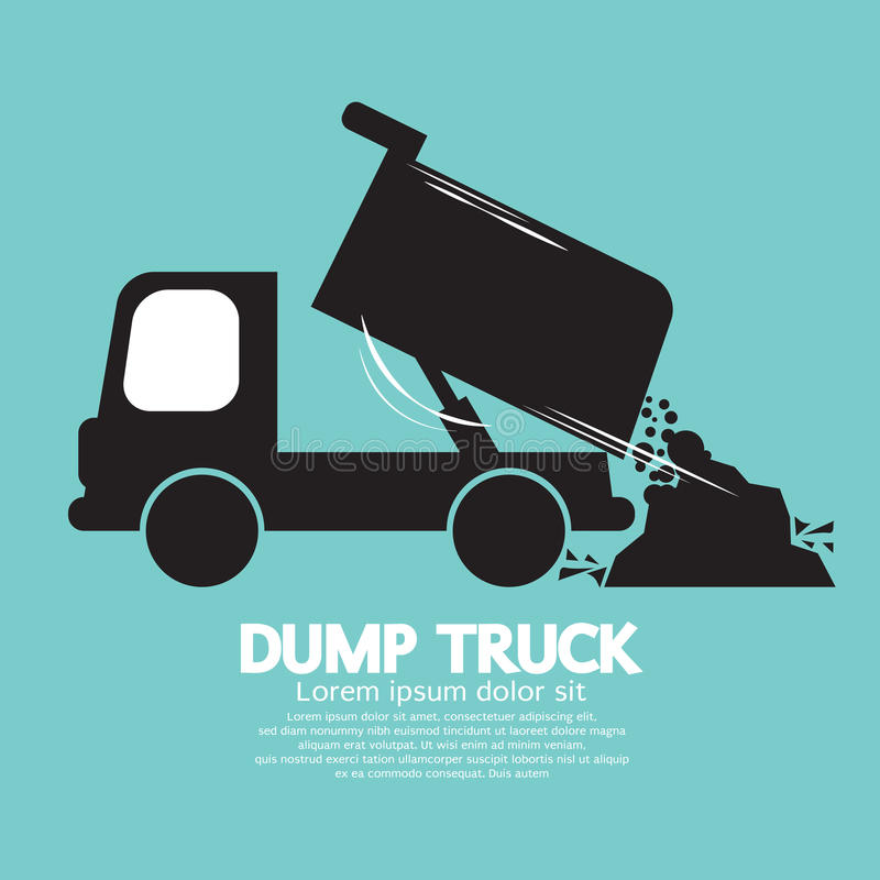 Dump Truck Carried And Unloading Loose Material. Illustration stock illustration