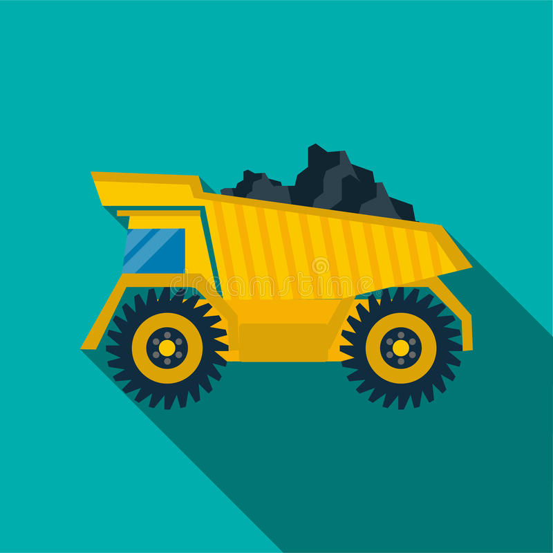 Dump truck with coal icon, flat style stock illustration